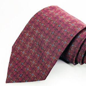 Kenneth Cole Tie 100% Silk Red Geometric Pattern